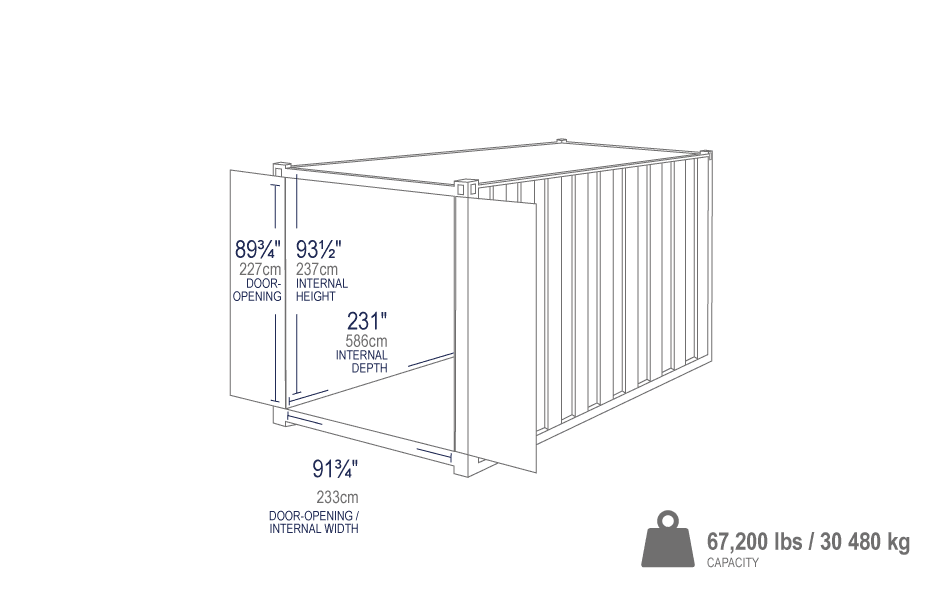 20 ft standard shipping container