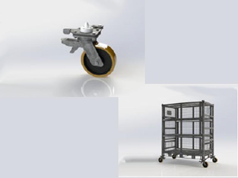 Wheel with brake - series 1, stainless steel
